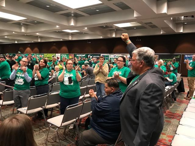 AFSCME members give Council 61 president Danny Homan a standing ovation after he shares his powerful and motivating story about how GOP lawmakers are trying to destroy public sector unions in Iowa